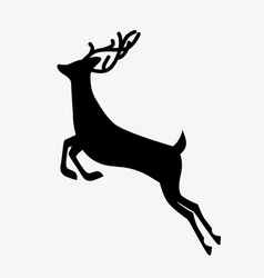 running deer black silhouette vector image