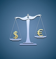 Scales with dollar and euro vector image