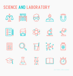 science and laboratory with thin line icons set vector image