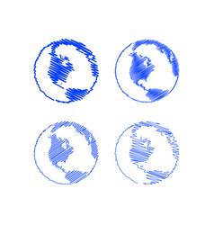 scribble globe vector image