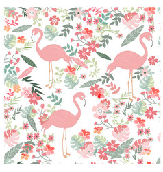 Seamless pattern flamingo in spring flower garden vector