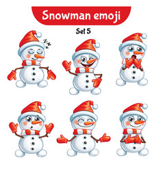 set of cute snowman characters set 5 vector image