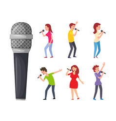 Singers and microphone men and women singing vector