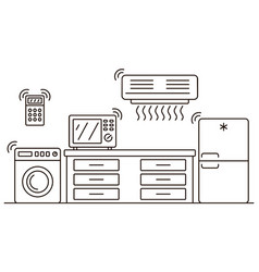 Smart home appliances banner outline style vector