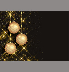 sparkling christmas balls on black background vector image
