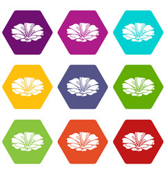 spring flower icons set 9 vector image