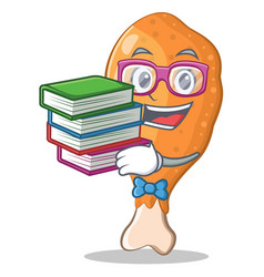 Student with book fried chicken character cartoon vector