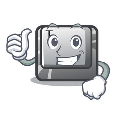 Thumbs up t button installed on character computer vector