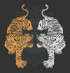 Tiger and floral tattoo design vector