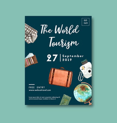Tourism day poster design with shirt wallet vector