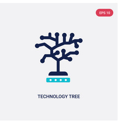 Two color technology tree icon from artificial vector