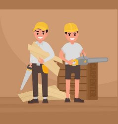 Two happy carpenters stand with tools vector
