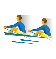 Two people in the boat rowing competition vector