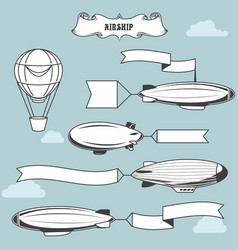 Vintage airships with greetings banner dirigibles vector