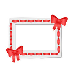 White frame with rounded edges decorated red tape vector