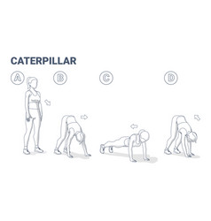Woman doing caterpillar exercise fitness home vector