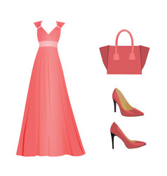 Woman pink outfit set vector