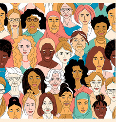 womens diversity head portraits line drawing vector image