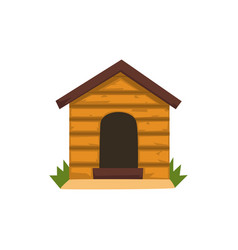 Wooden kennel on a white vector