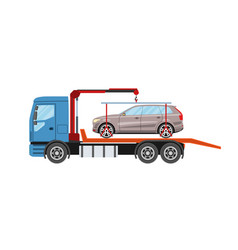 wrecker truck with evacuated car towing truck vector image