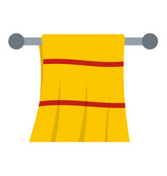 yellow towel hanging on hanger icon isolated vector image
