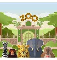 Zoo gate with african flat animals vector image