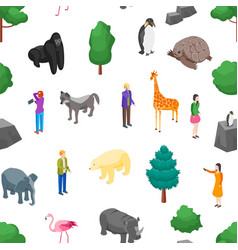 Zoo seamless pattern background 3d isometric view vector