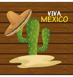 cactus with hat mexican icon design graphic vector image vector image
