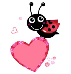 Cute flying Ladybug with heart isolated on white vector image vector image