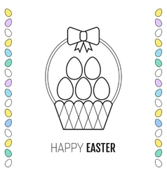 Easter basket with eggs flat icon vector image
