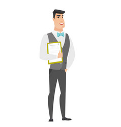 groom holding clipboard with papers vector image vector image