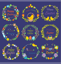 happy easter text quote in flowers branch and eggs vector image vector image