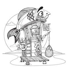 house fisherman cartoon of a wooden hut on stilts vector image vector image