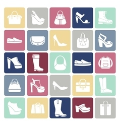 Shoes and bags icons in flat style vector image vector image