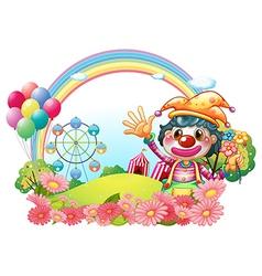 A female clown waving her hands near the garden vector image vector image