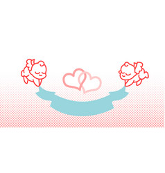 cupid and ribbon little angel vector image vector image