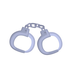 Pair of metallic handcuffs cartoon vector