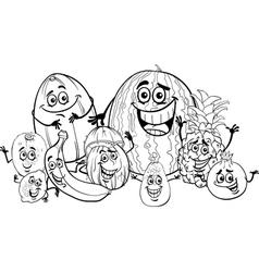 Tropical fruits cartoon for coloring book vector