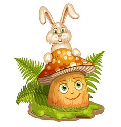 Cartoon mushroom and rabbit vector image