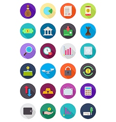 Color round finance icons set vector image