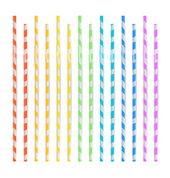 colorful drinking straws set 3d striped icon vector image