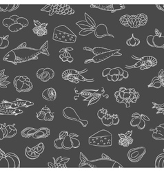 Food hand drawn icons seamless pattern vector image