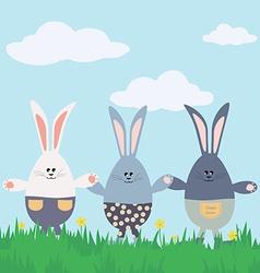 Three bunnies Happy Easter Card vector image vector image
