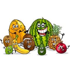 tropical fruits group cartoon vector image