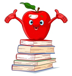Apple character on pile of books vector image