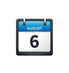 August 6 Calendar icon flat vector image vector image