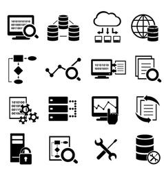 Big data cloud computing icons vector image vector image