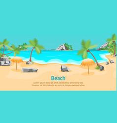 cartoon tropical beach summer landscape card vector image vector image