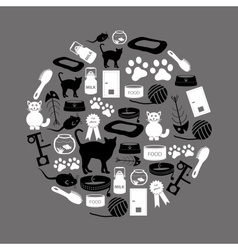 cats pets items simple black and white icons in vector image