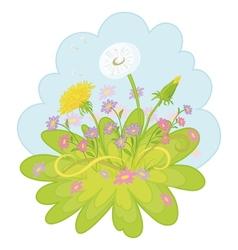 flowers dandelions in the sky vector image